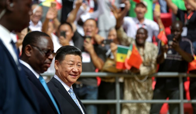 Senegal's President Macky Sall and Xi Jinping attends the opening ceremony of a China-built wrestling arena in Senegal's capital Dakar on July 22.