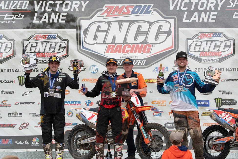 Kailub Russell (center), Thad Duvall (left) and Steward Baylor Jr. (right) rounded out the overall podium at the CST Tires Camp Coker Bullet GNCC.