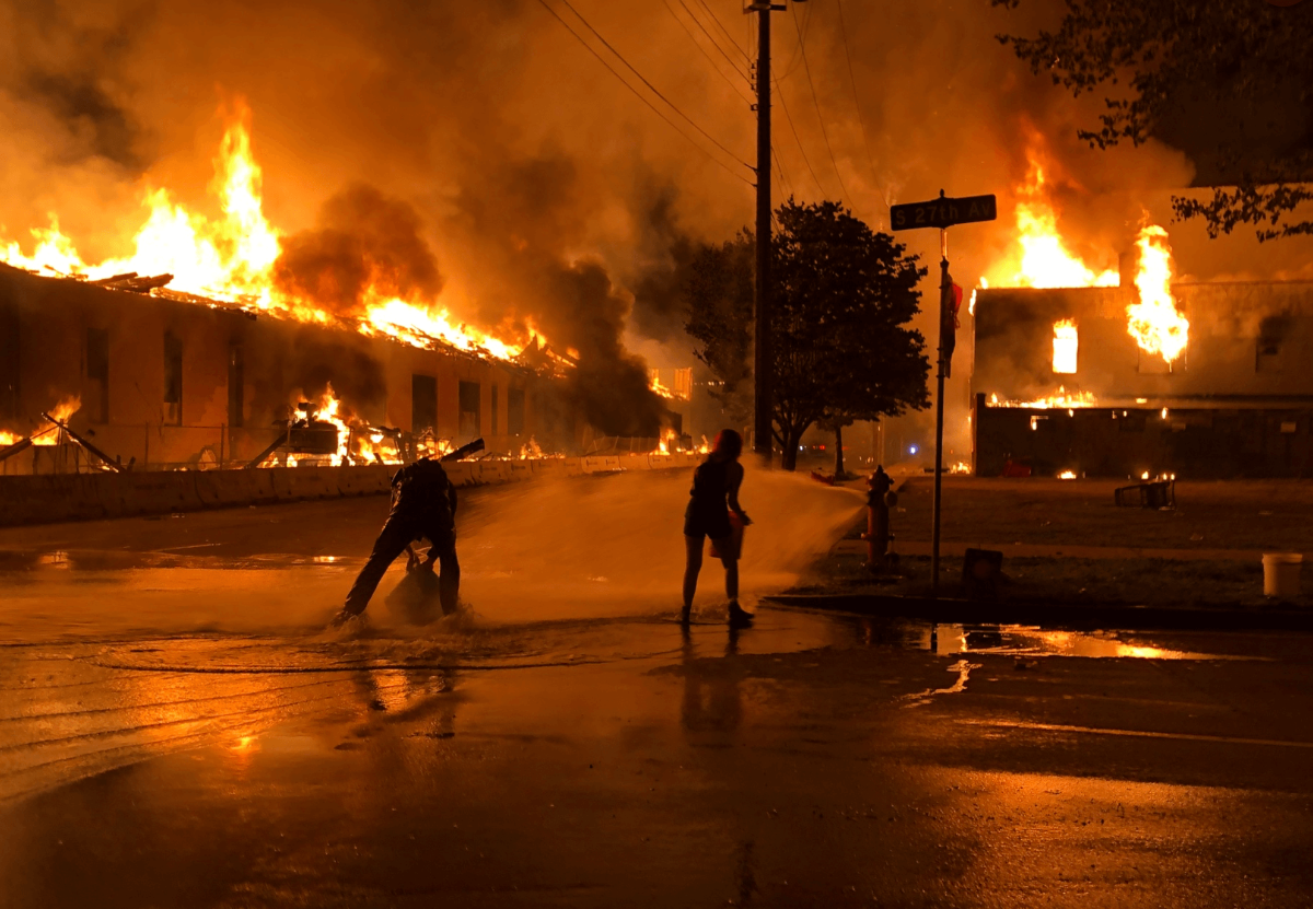 Town on fire in protest