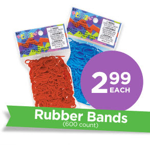 2.99 each Rubber Bands (600 count)