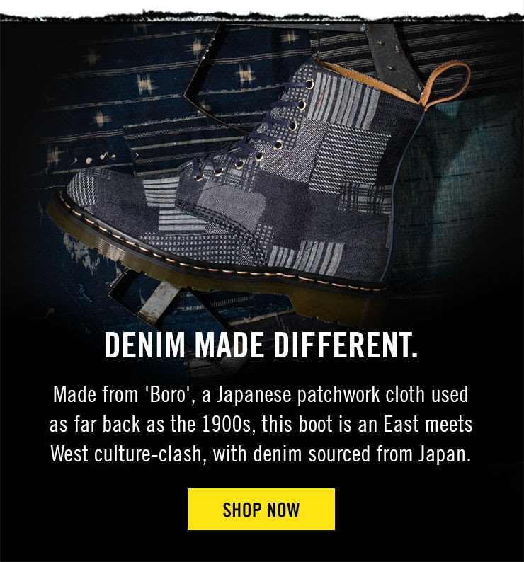 DENIM MADE DIFFERENT - Made from 'Boro', a Japanese patchwork cloth used as far back as the 1900s, this boot is an East meets West culture-clash, with denim sourced from Japan - Shop now