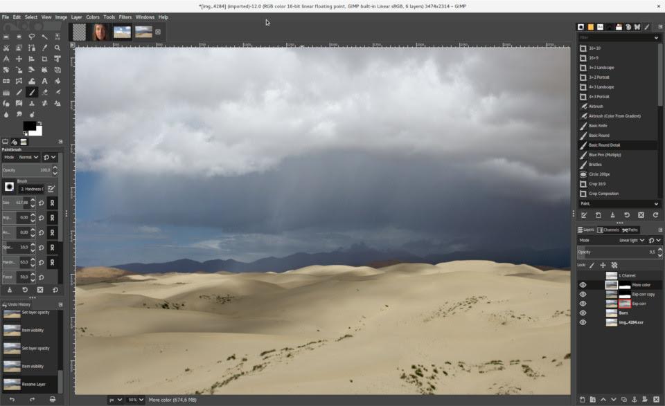 GIMP 2.10 com tema escuro da interface do usuário e tema de ícones simbólicos