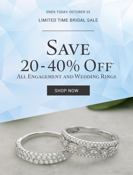 Save 20-40% off* all engagement and wedding rings for a limited time.