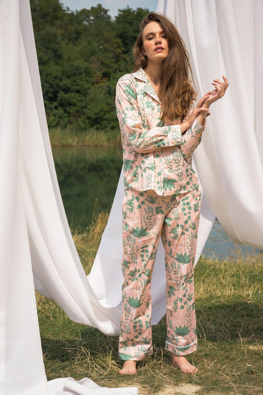 Circe's Garden Pink Women Long Pyjama Set