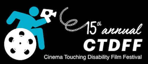 Handiman with video camera in a wheelchair with a film reel as a wheel. Text 15th annual CTDFF