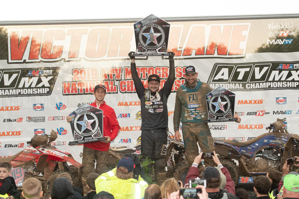 Thomas Brown (center), Joel Hetrick (left) and Chad Wienen (right) rounded out the top three overall at the Underground ATVMX National.