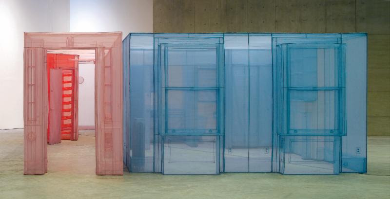 Do Ho Suh, 348 West 22nd Street, Apt. A, New York, NY 10011, USA, 2012. Polyester fabric and stainless steel tube. 271 2/3 x 169 3/10 x 96 1/2 inches. Edition of 3. Courtesy the artist and Lehmann Maupin, New York and Hong Kong.