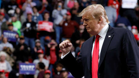 El presidente estadounidense, Donald Trump, en un mitin realizado en el Complejo del Centro Resch en Green Bay, Wisconsin, el 27 de abril de 2019.