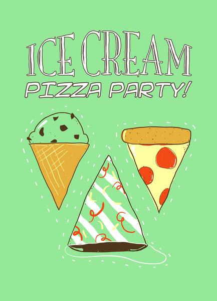 pizza and ice cream