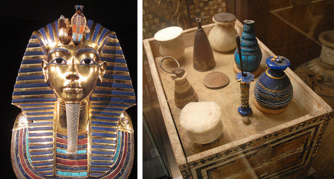 Ancient Pharaoh Sarcophagus With Black Kohl Liner And Vessels Used To Contains Kohl For Makeup Purposes in After Life