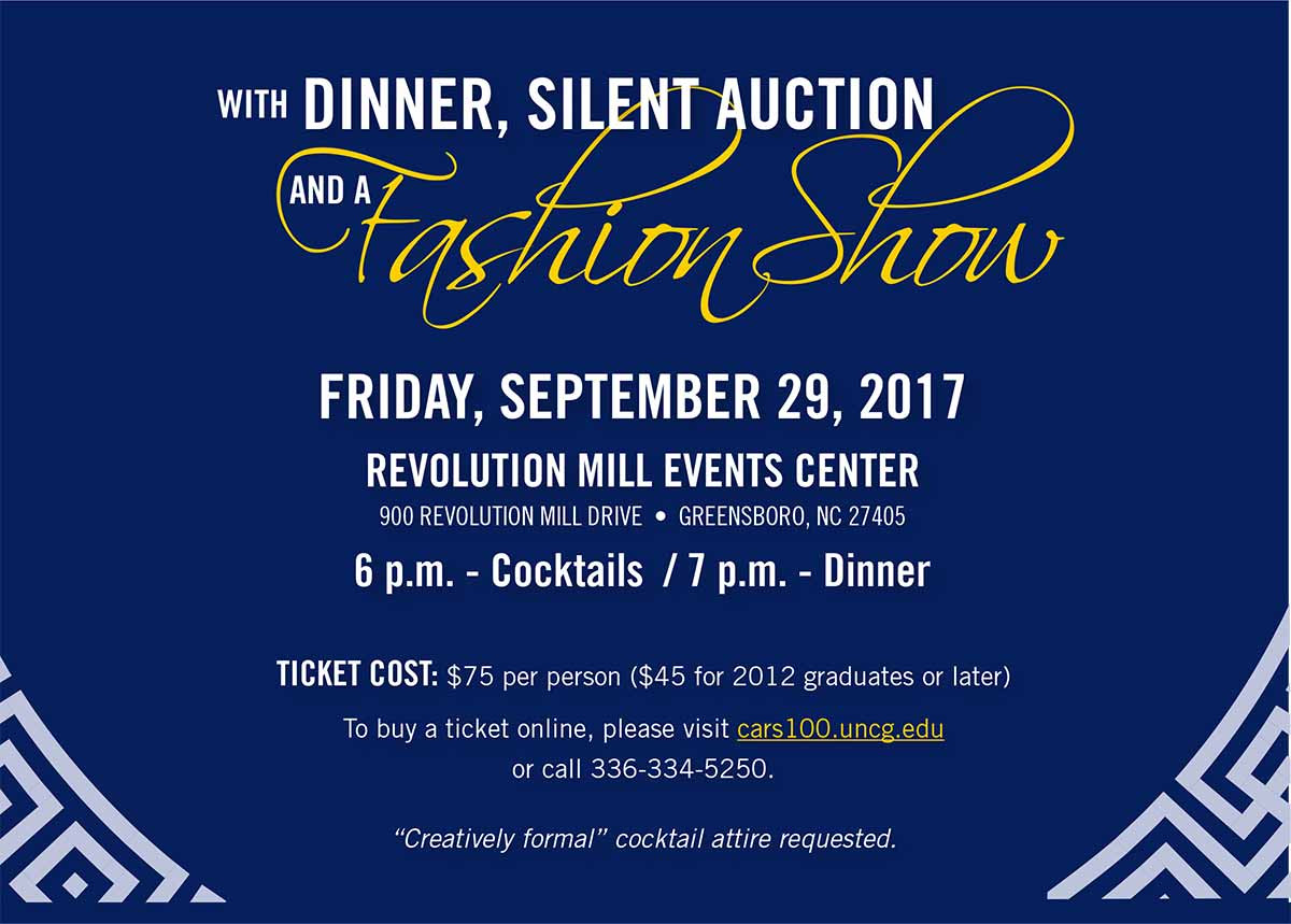 With a Dinner, Silent Auction and a Fashion Show. Friday, September 29, 2017.