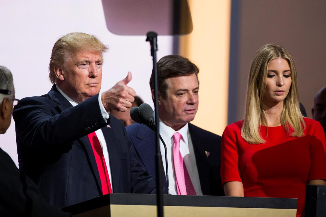 Paul Manafort (center) is accused of talking with Russian intelligence during the campaign.