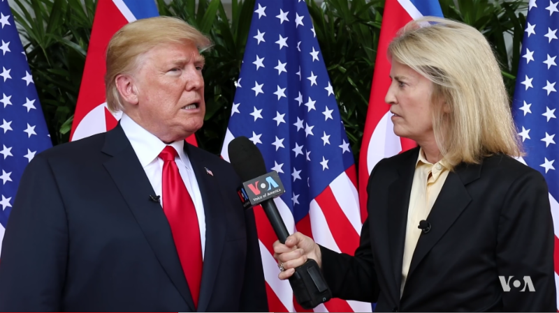 President Trump speaking with VOA Contributor Greta Van Susteren