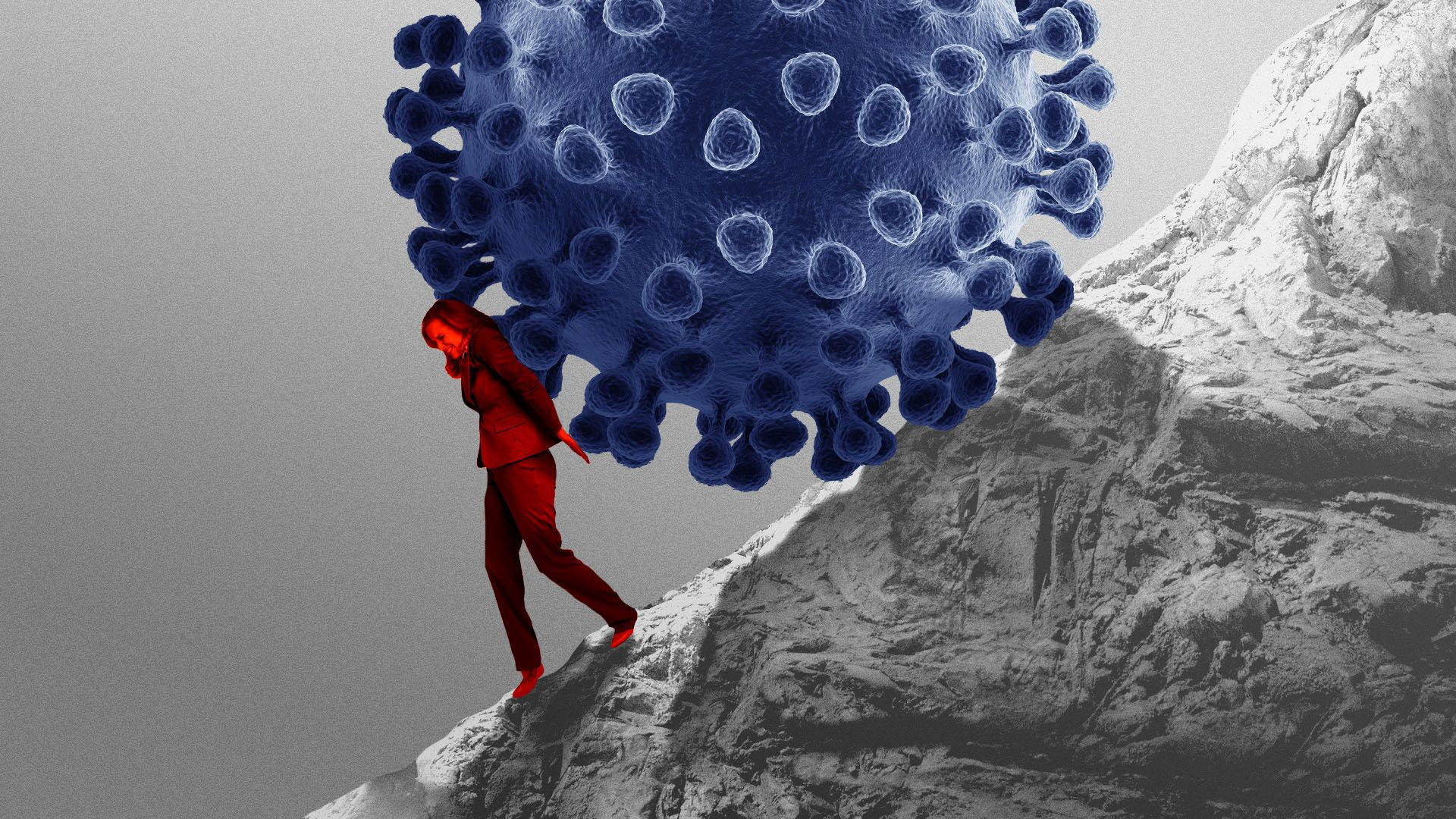 Illustration of a woman pushing a virus up a hill like Sisyphus