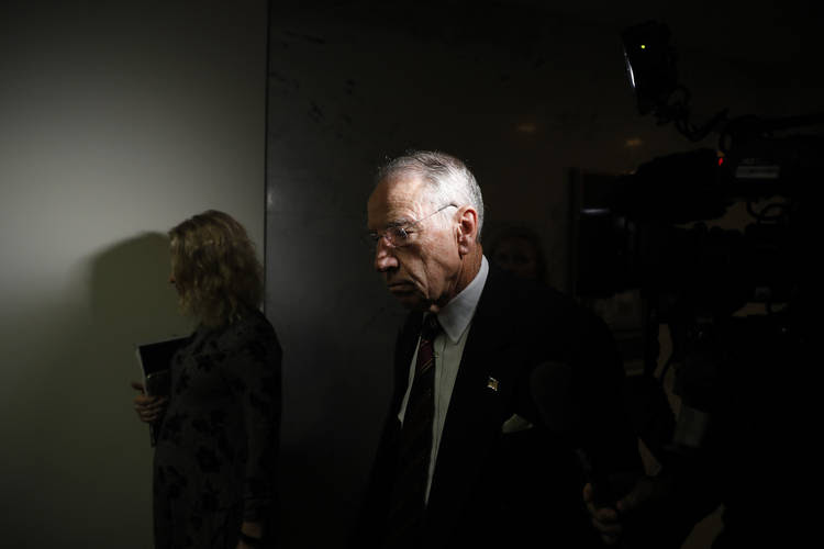 Senate Judiciary Committee Chairman Chuck Grassley (R-Iowa) leaves a meeting about Brett Kavanaugh at the Capitol on Tuesday. (Aaron P. Bernstein/Getty Images)