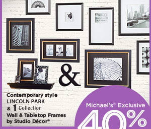 Michaels® Exclusive 40% OFF Reg. 3.99 - 89.99. Now 2.39 - 53.99. Contemporary style LINCOLN PARK & 1 Collection Wall & Tabletop Frames by Studio Décor®