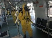 Soldiers disinfect subway cars, Rio de Janeiro, Brazil, March 23, 2020.