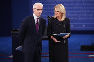 Anderson Cooper of CNN and Martha Raddatz of ABC News moderated the second presidential debate, on Sunday at Washington University in St. Louis.