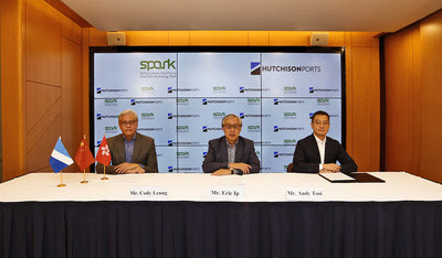 Mr. Eric Ip (centre), Group Managing Director of Hutchison Ports, Mr. Andy Tsoi (right), Managing Director, Middle East and Africa Division and Mr. Cody Leung (left), Group General Counsel & Corporate Development Director of the company attended the online signing ceremony