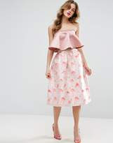 ASOS Prom Skirt in Flamingo Jacquard
