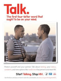 Two Start Talking. Stop HIV. campaign posters.