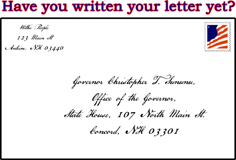Graphical image depicting letter to Governon Sununu