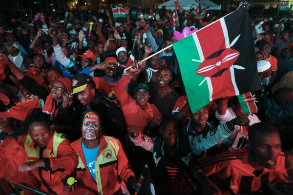 Supporters of President Uhuru Kenyatta cheer in Nairobi after he was declared the winner of Kenya's presidential election on Aug. 11. (Dai Kurokawa/European Pressphoto Agency)