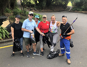 Some CORE staff members ready to start picking up rubbish at their local maunga