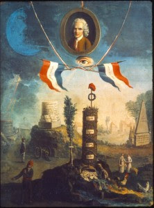Jean-Jacques Rousseau and the Symbols of the Revolution, painting by D. Jeaurat, c. 1794
