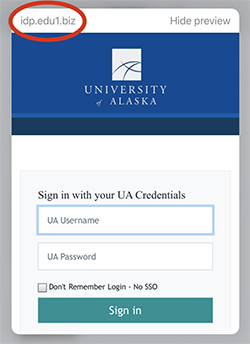 Screenshot of fake SSO page with non-UA URL circled