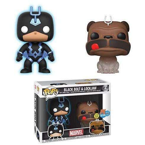 Image of Marvel Inhumans Teleporting Lockjaw & Glow-in-the-Dark Black Bolt Pop! Vinyl Figure 2-Pack SDCC 2018 Previews Exclusive