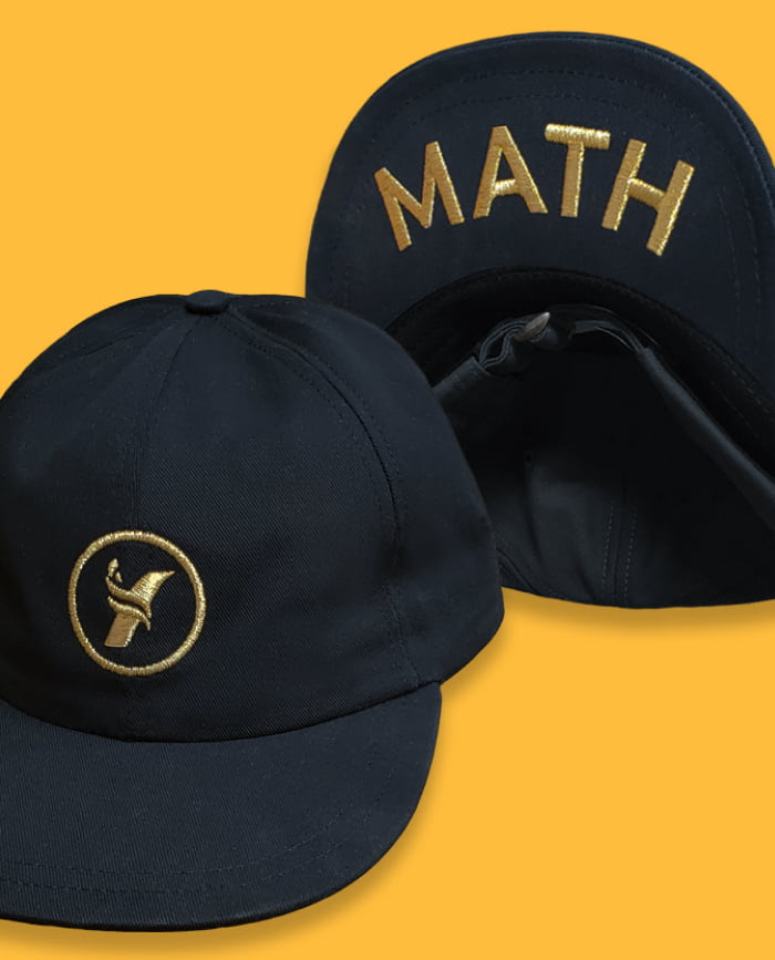 Black cap with Yang2020 logo embroidered in gold. And 'MATH' embroidered in gold under the cap.
