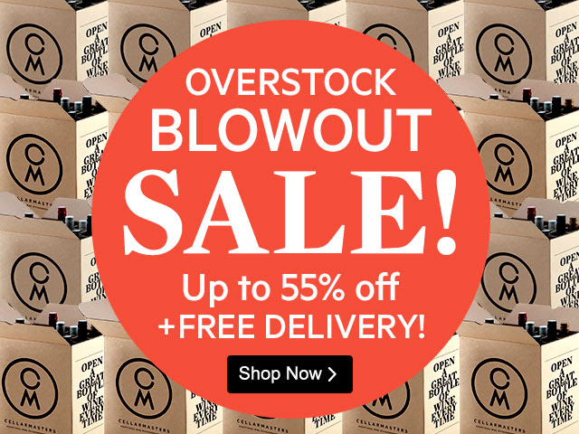 Up to 55% off overstocks blowout sale + free delivery at CellarMasters.com.au