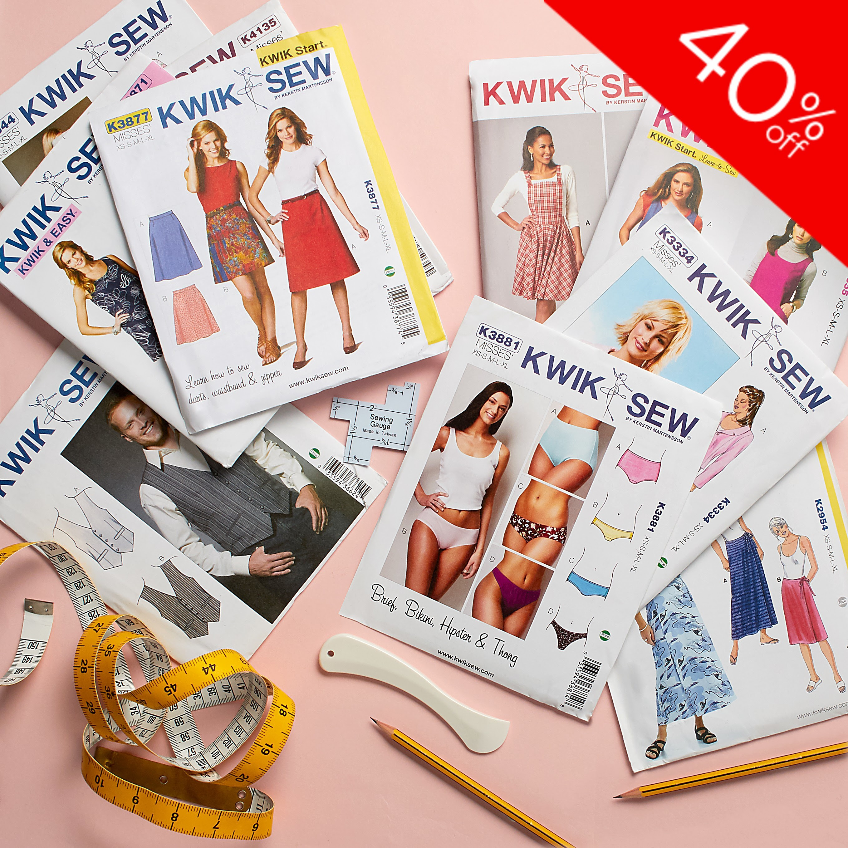 Save 40% off all Kwik Sew sewing patterns