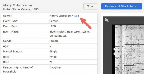 FamilySearch Indexing Editing tool enables users to correct name indexing errors.