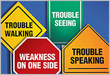 Street signs showing messages of stroke symptoms.