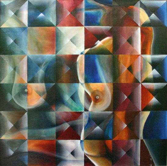 Checkered Woman  Oil on Canvas with Resin  36x36   5 500