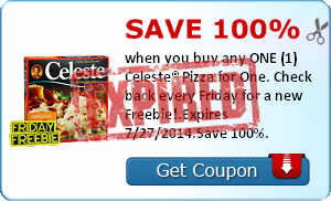 Save 100% when you buy any ONE (1) Celeste® Pizza for One. Check back every Friday for a new Freebie!.Expires 7/27/2014.Save 100%.