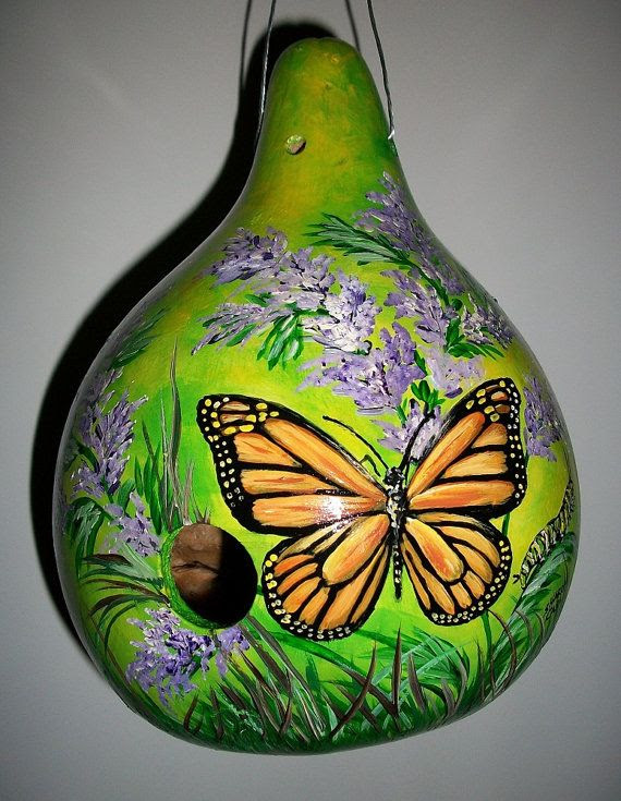 Gourd Birdhouse Monarch Butterfly With by SharonsCustomArtwork, $45.00