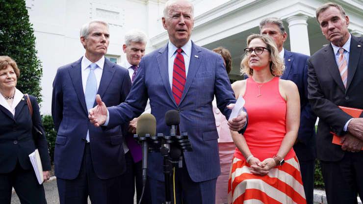 President Joe Biden talks about his bipartisan infrastructure deal