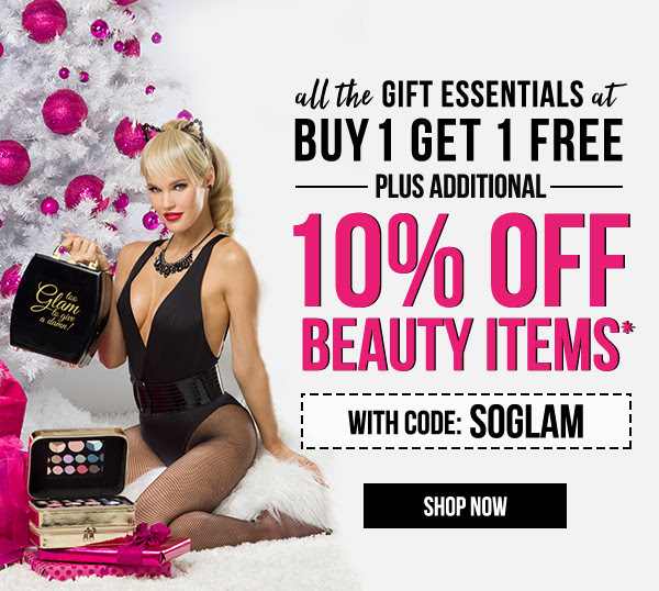 All the gift essentials at Buy 1 Get 1 FREE + take an additional 10% off cosmetics* with the code: SOGLAM.