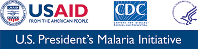 Logos of Logos of USAID: From the American People, CDC: Centers for Disease Control and Prevention, and President's Malaria Initiative. United States Department of Health and Human Services