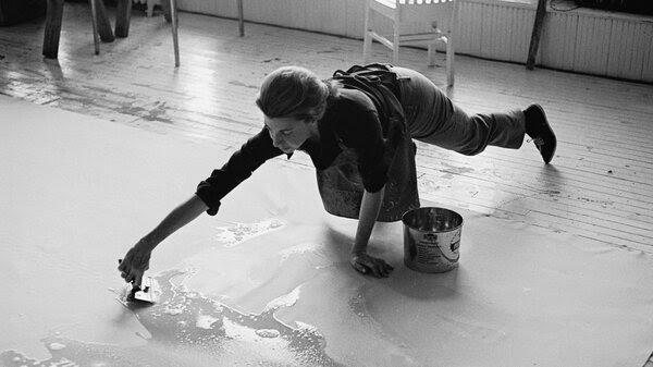 Frankenthaler at work in her studio in 1969.