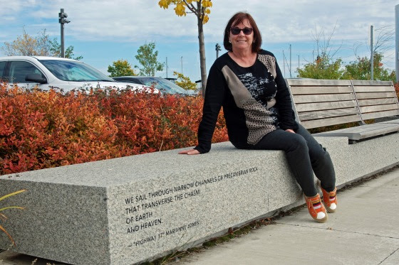 Special thanks to Thunder Bay writer Marianna Jones for her guided tour of Prince Arthur's Landing, the new waterfront development area on Lake Superior. Her poetic lines are sandblasted in four granite benches located in the park.