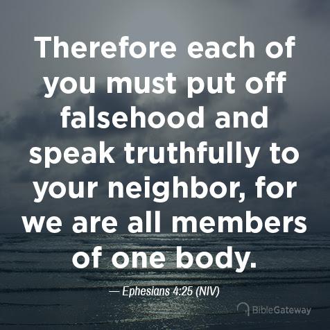 Read Ephesians 4:25 on Bible Gateway.