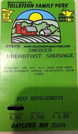 Tollefson Smoked Breakfast Sausage Label
