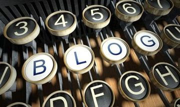 "Picture of old typewriter keyboard with dark letters, except white letters that spell ""Blog"" to illustrate post to ""Boost your blogging expertise ~ boost your business!"""
