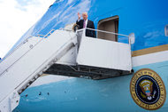 President Trump stepped off Air Force One in Philadelphia on Thursday, where he went to meet with congressional Republicans.