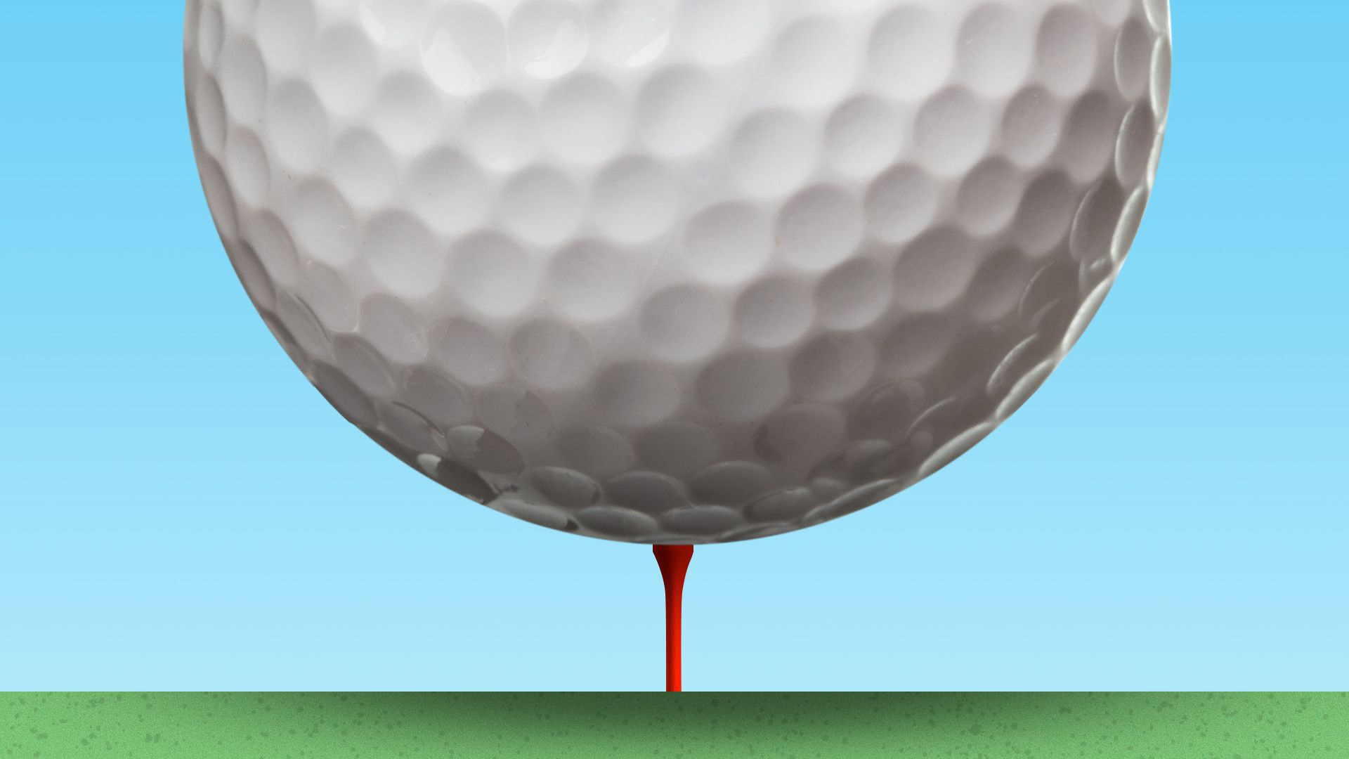 Oversized golf ball on a tee