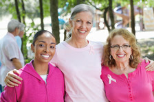 group of women at breast cancer event